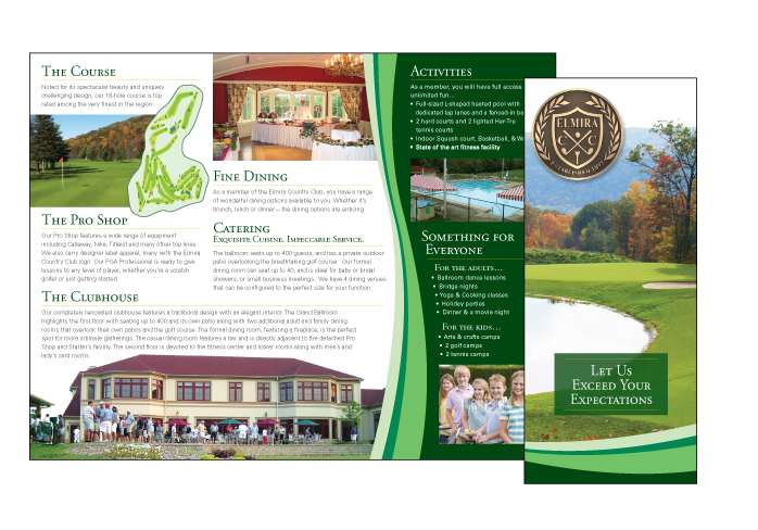 country brochure template - lynde scott elmira country club